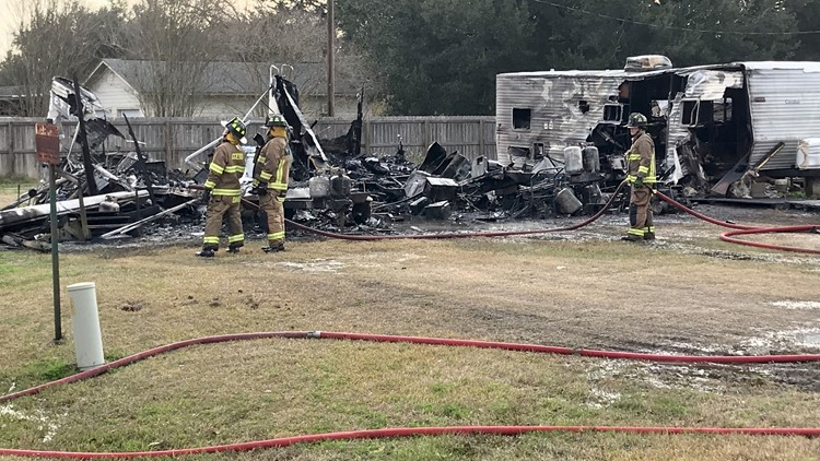 Three families homeless following fast-moving RV fire in Winnie