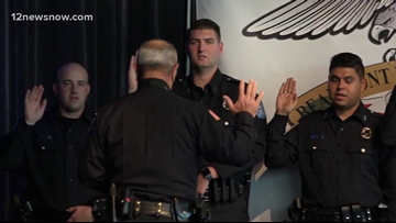 Beaumont Police Department swears in 11 new officers in 'oath of officer' ceremony Tuesday