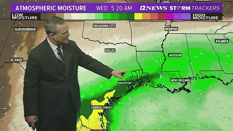 Improving rain chances in SE Texas