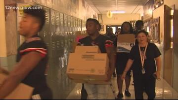 Port Arthur Memorial HS students deliver new school supplies to Hamshire-Fannet schools following flooding
