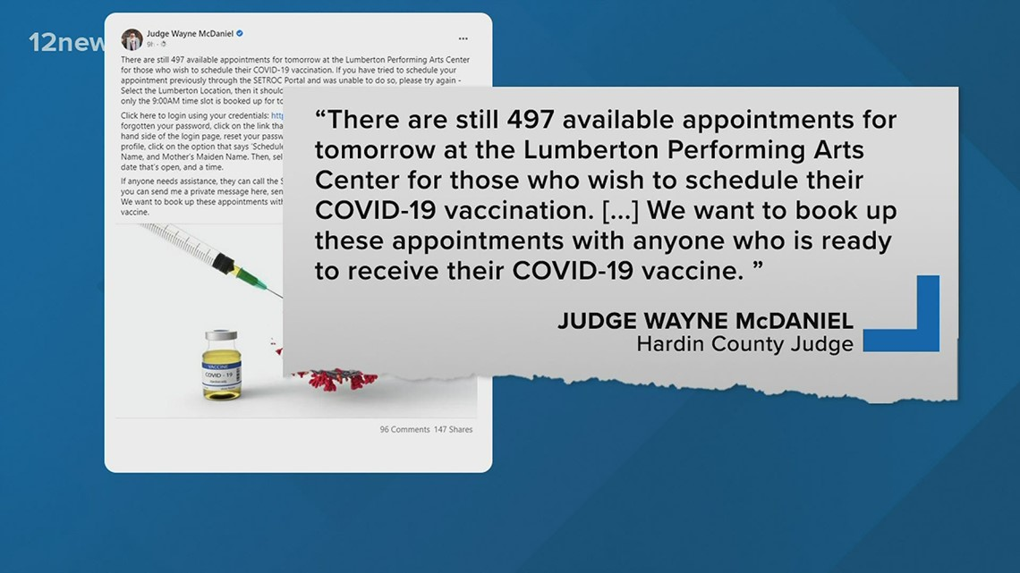 Hardin County Judge wants to book 500 COVID-19 vaccine appointments this week