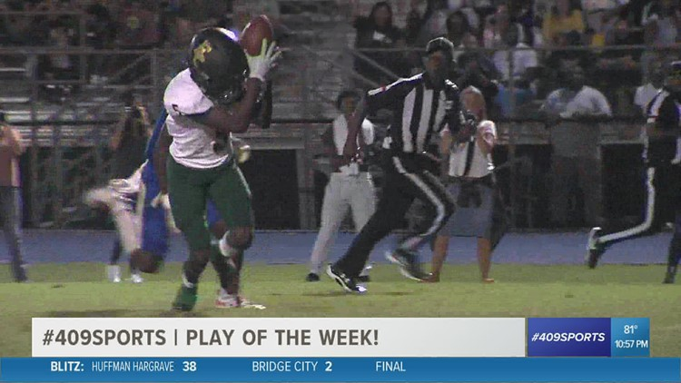 East Chambers High School's Jacoby Perrault connects with KK Morris for the week 3 Play of the Week