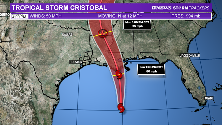 7 PM: Outer rainbands of Cristobal moving across parts of Gulf Coast, Southeast Texas remains out of 'cone'
