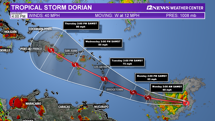 Tropical Storm Dorian forms in the Atlantic
