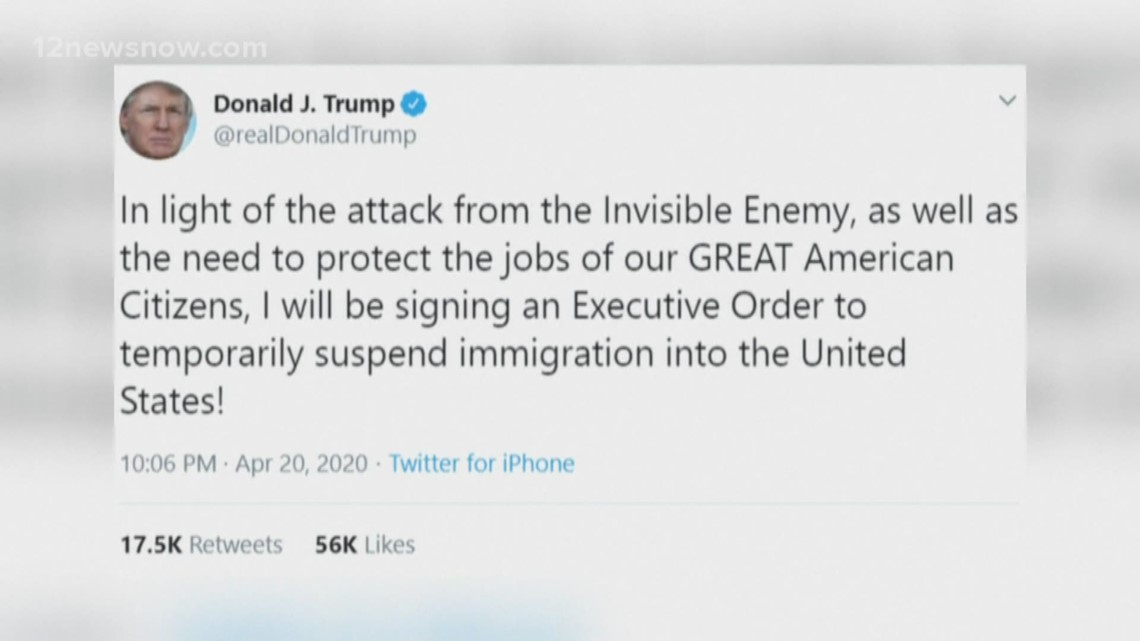 President Trump issues temporary suspension of immigration into US