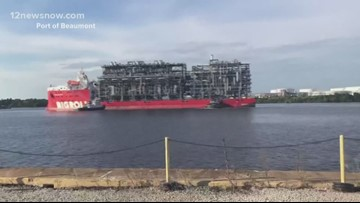 Ship seen making moves on waterway in 'Neches River Tango'