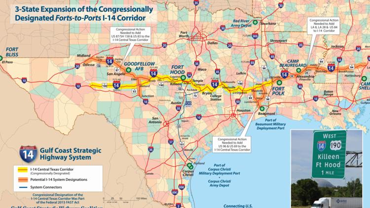 i-14 corridor map