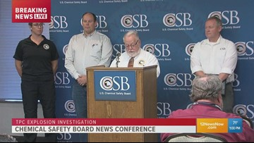 Officials hold news conference, provide details on investigation following TPC fires, explosions