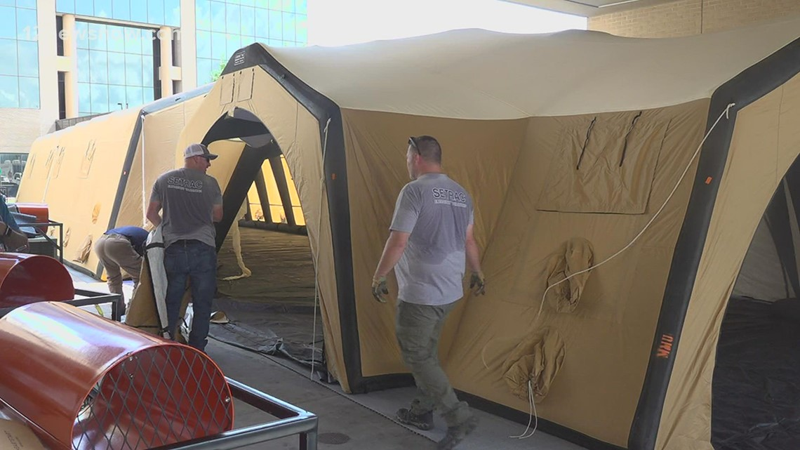 Southeast Texas hospitals setting up tents to meet demand as number of patients increase