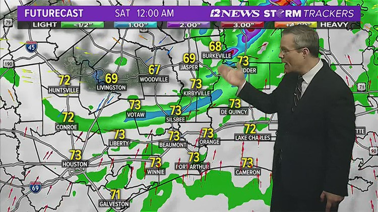 Stormy weather possible Friday Night in SE Texas