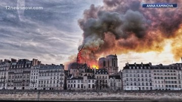 Prayers continue after nine hour fire on Paris's Notre Dame Cathedral is finally extinguished