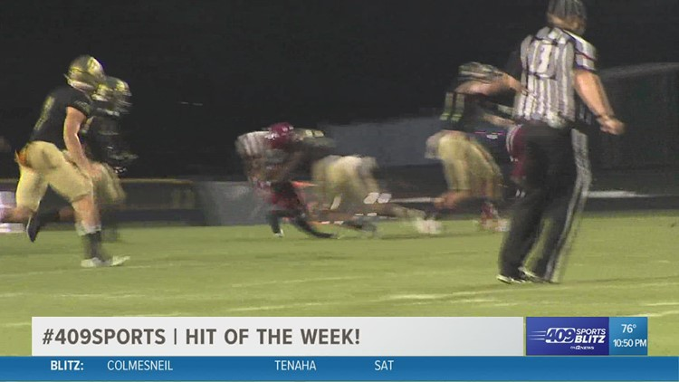Little Cypress-Mauriceville's  Dwight Davis shuts down Jasper's run game in the Hit of the Week for week 6