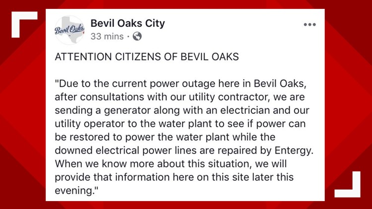 Bevil Oaks power outage 4-8-2019