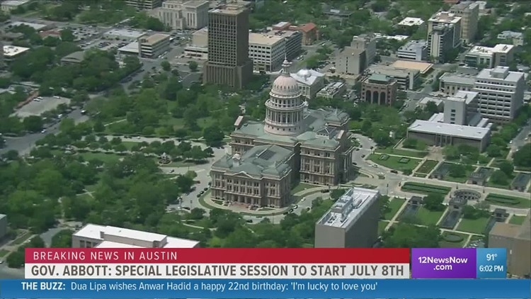 Gov. Abbott calls for special legislative session on July 8