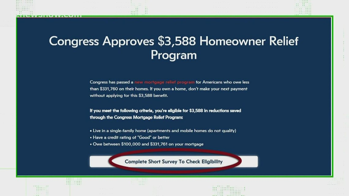 Verify: Is there a congress Approved homeowner relief program for mortgage payments?