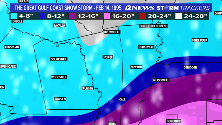 The Lakes Area Snowfall totals from the Great Gulf Coast Snowstorm