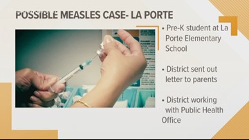 Student suspected of having measles causes La Port school to take precautionary measures