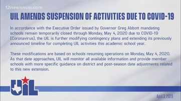UIL Amends Suspension of Activities Due to COVID-19