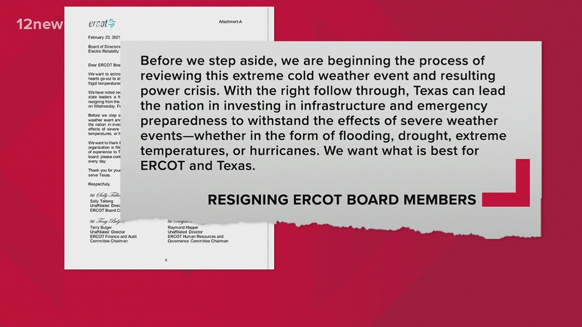 Out-of-state ERCOT board members resigning in aftermath of power outages across Texas
