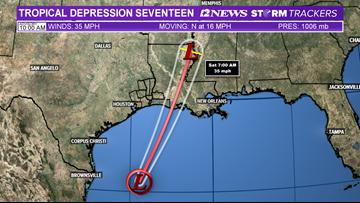 Tropical Depression 17 heading to Louisiana