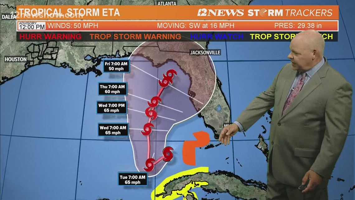 Tropical Storm Eta heads back into the Gulf of Mexico before taking second aim at Florida