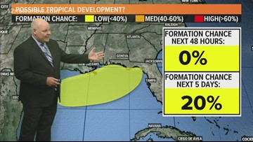 Tropical formation in the next five days at 20%, shouldn't head to Texas