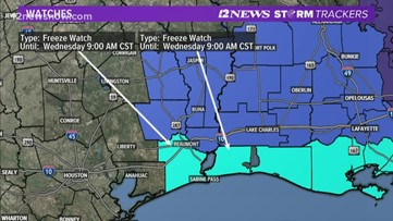 Freeze watch in effect as arctic cold front arrives in Southeast Texas