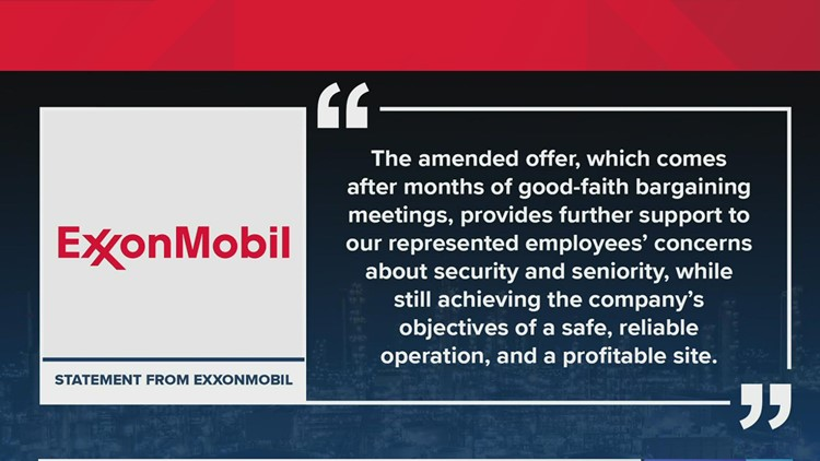 ExxonMobil amends its contract offer for locked out United Steelworkers union
