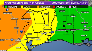 Timeline: Severe weather threat tonight for Southeast Texas