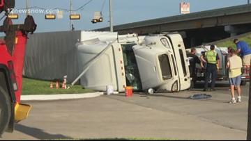 Hazmat crew called to semi rollover in Orange at I-10, 62