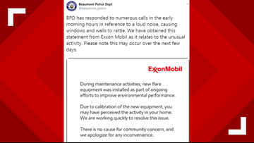 Loud noises, rattling windows, walls may continue a few days as ExxonMobil installs new flare equipment
