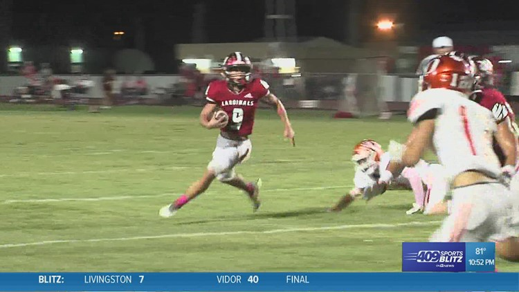 Bridge City's Kyler Garlaska trucks his way for a First Down in the Hit of the Week