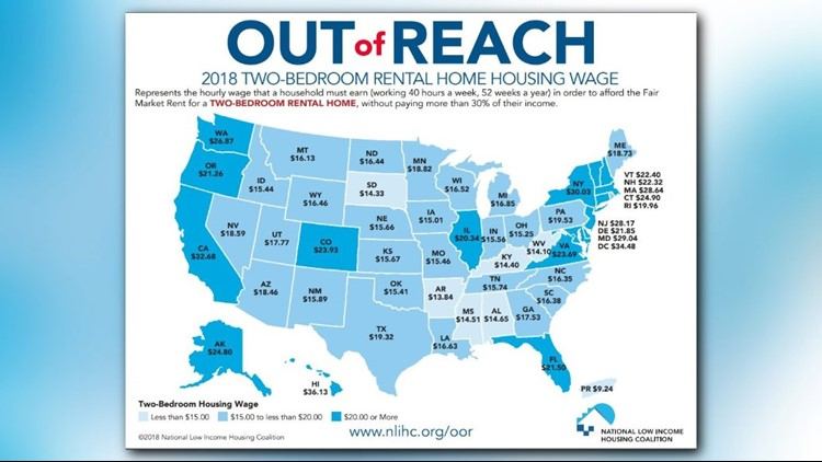 A map that represents the hourly wage that a household must earn (working 40 hours a week, 52 weeks a year) in order to afford the Fair Market Rent for a two-bedroom rental unit, without paying more than 30% of their income.