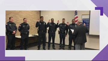 Beaumont Police Department swears in new recruits, promotes one to sergeant