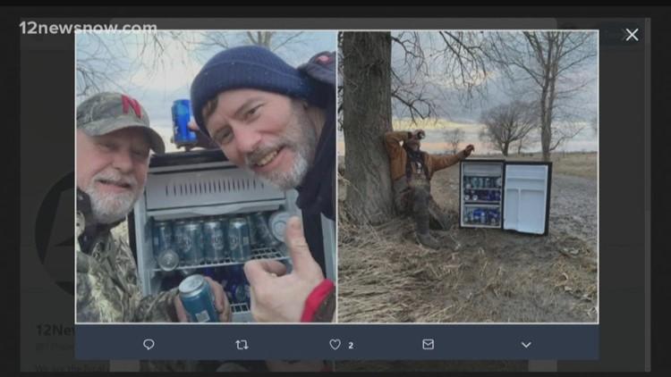 Two men find fridge full of beer in empty Nebraska field after flooding