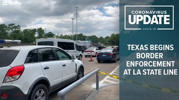 "DPS ""checkpoints"" underway at Louisiana state line, anyone entering from Louisiana required to self-quarantine for 14 days"