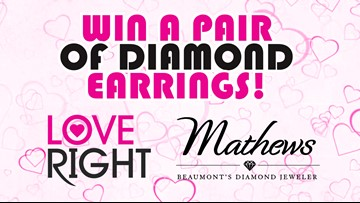Win a pair of diamond earrings in the Mathews Jewelers Love Right contest