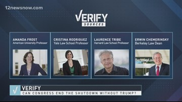 VERIFY | Can Congress end the shutdown without Trump?