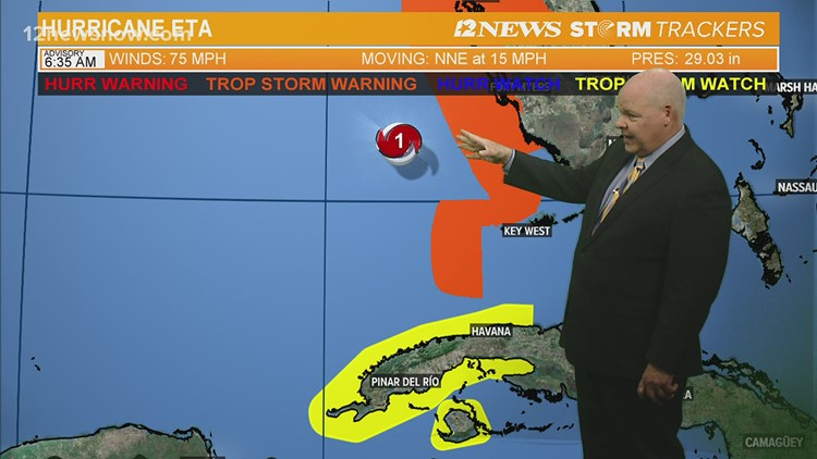 Eta re-strengthens to hurricane off southwestern Florida coast Wednesday morning