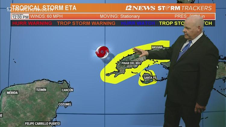 Tropical Storm Eta meanders of coast of Western Cuba