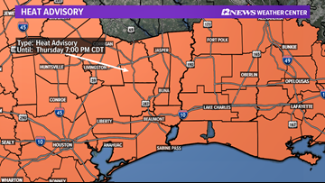 Heat advisory issued for  Southeast Texas as conditions could feel like 105° to 110° Thursday afternoon