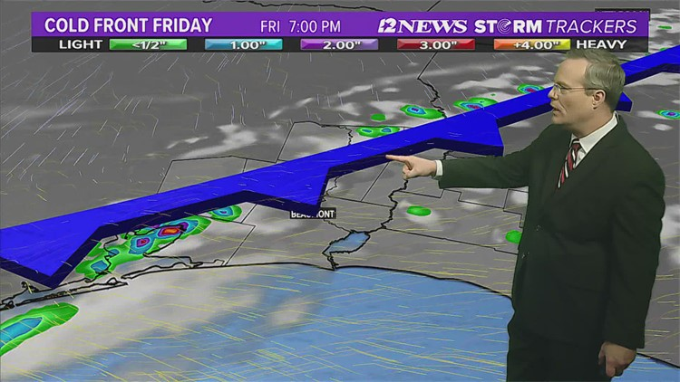 Significant cold front arrive in SE Texas Friday Evening