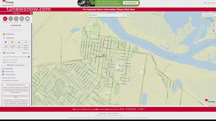 Entergy map shows power outages following Nicholas landfall, crews will wait until it's safe to start restoring power