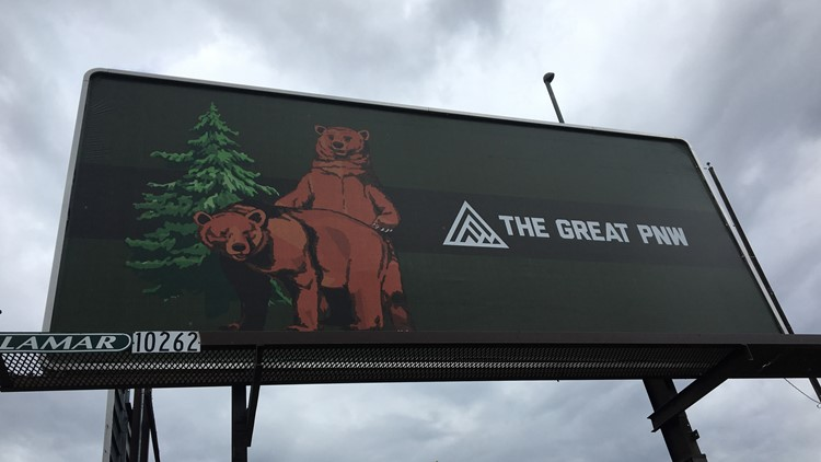 Billboard featuring 2 bears mating turns heads downtown