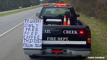 Arkansas fire department providing free hot meals for truck drivers