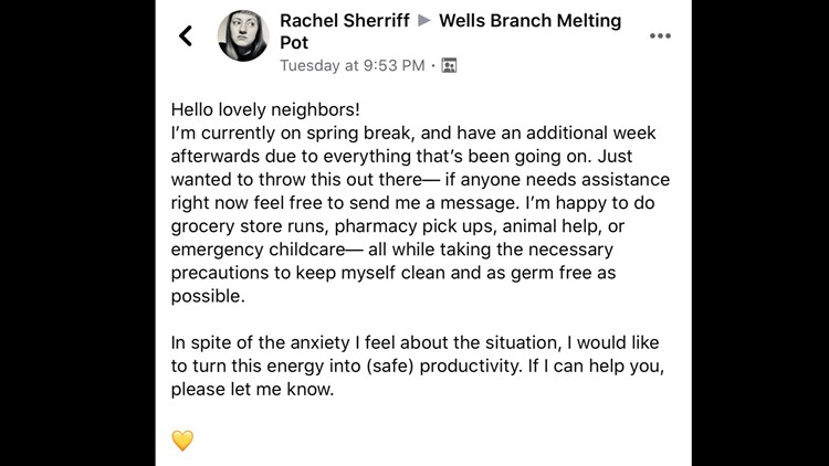 Rachel Sherriff's Facebook post
