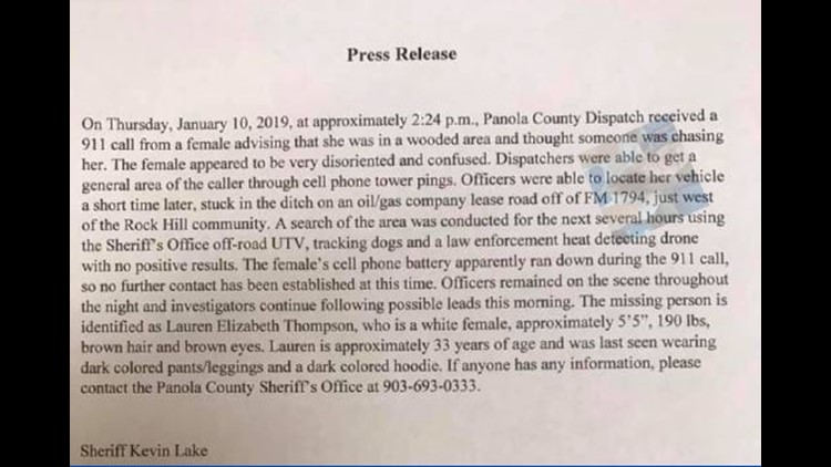Initial Press Release about Lauren Thompson's disappearance