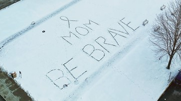 Someone left a Valentine's Day message for mom in snow outside Ohio clinic