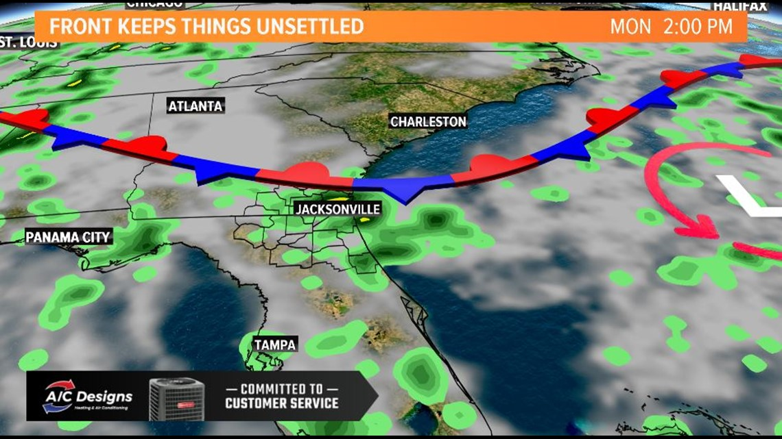 Front drops Sunday, keeps some showers around
