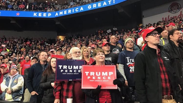 Trump supporters inside  Huntington Center